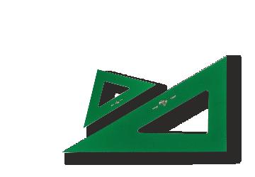 Escuadras y cartabones verdes tecnicos