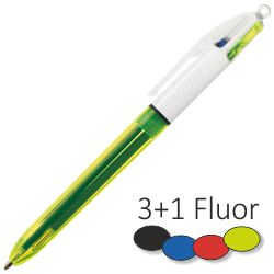 Bic 4 Colores, 3  + 1 Fluorescente neon amarillo