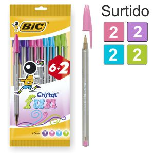 Bic Cristal Fun Fashion Pack 6+2 bolígrafos Gratis