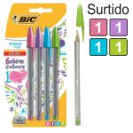 Bolígrafos Bic Cristal Fun Fashion pack 4 Colores pastel