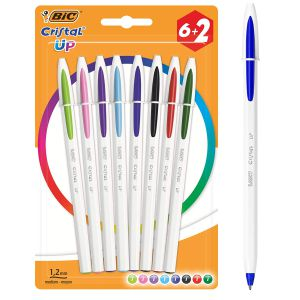 Bolígrafos Bic Cristal UP Colores Pack 6+2 Gratis