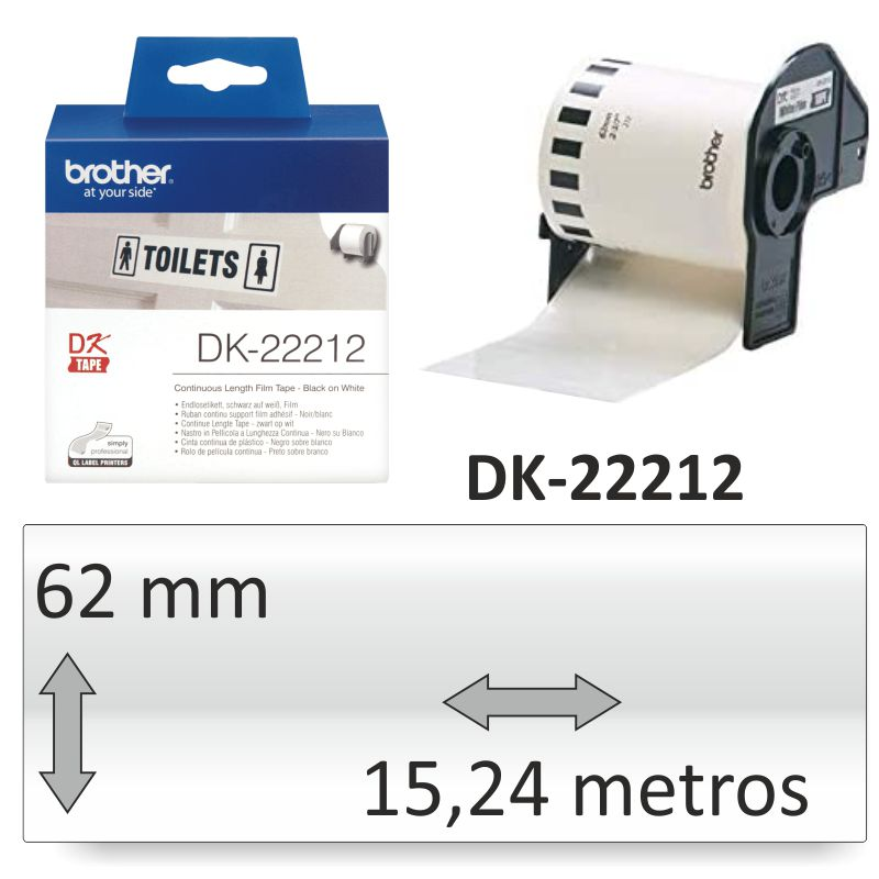 Comprar Brother DK-22212 Rollo plastico blanco adhesivo 62mm