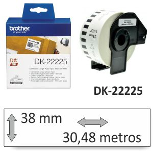 Brother DK-22225 Rollo etiquetas continuo 38 mm, 30 metros