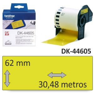 Brother DK-44605 rollo papel amarillo 62mm x 30,48 metros