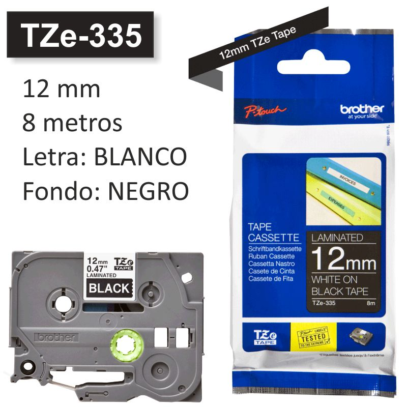 Comprar Brother TZe-335, Cinta rotuladora 12 mm blanco sobre negro
