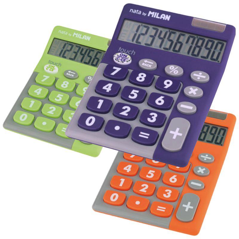 Calculadora milan touch 10 digitos colores tacto goma for Calculadora ahorro