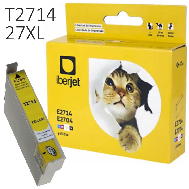 Cartucho Epson 27XL amarillo compatible T2714