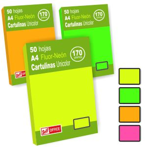 Cartulinas Din A4 colores tipo Fluorescentes 50 hjs unicolor