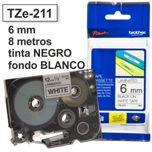 Comprar Cinta Brother 6mm TZ-211 TZ211 negro sobre blanco