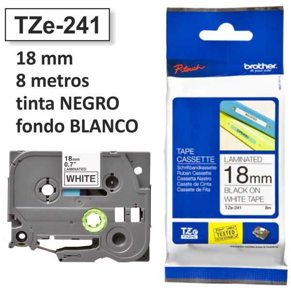 Comprar Cinta Brother TZE-241 18mm TZE241 rotuladora negro/blanco