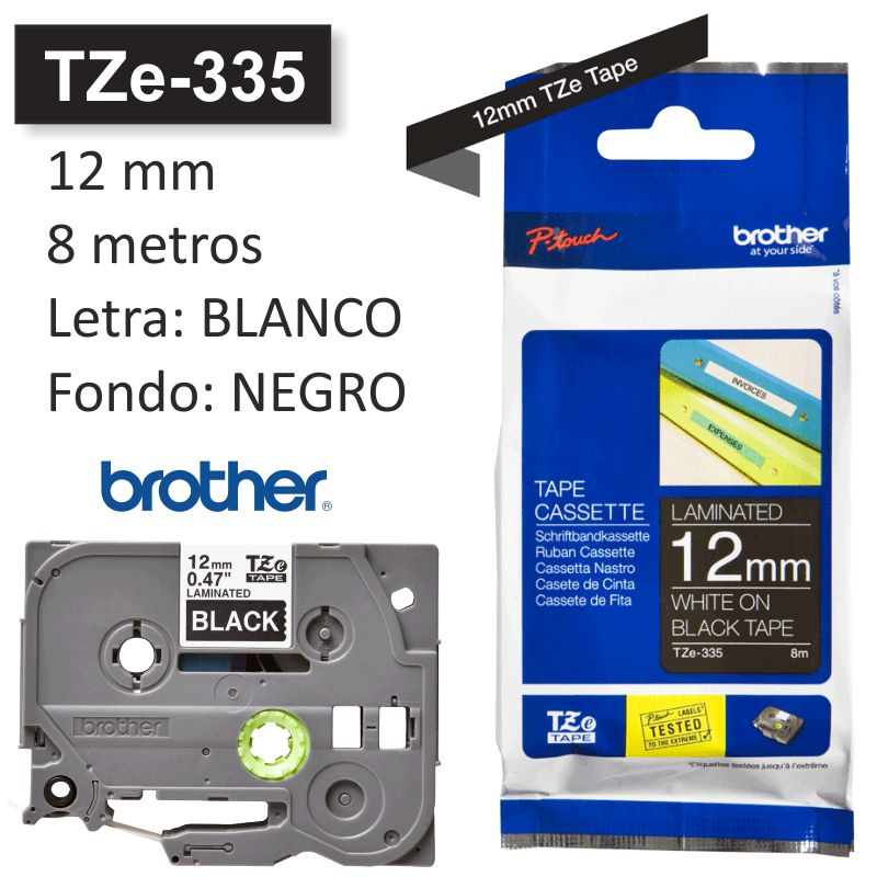 cinta rotuladora brother tze 335 blanco sobre negr