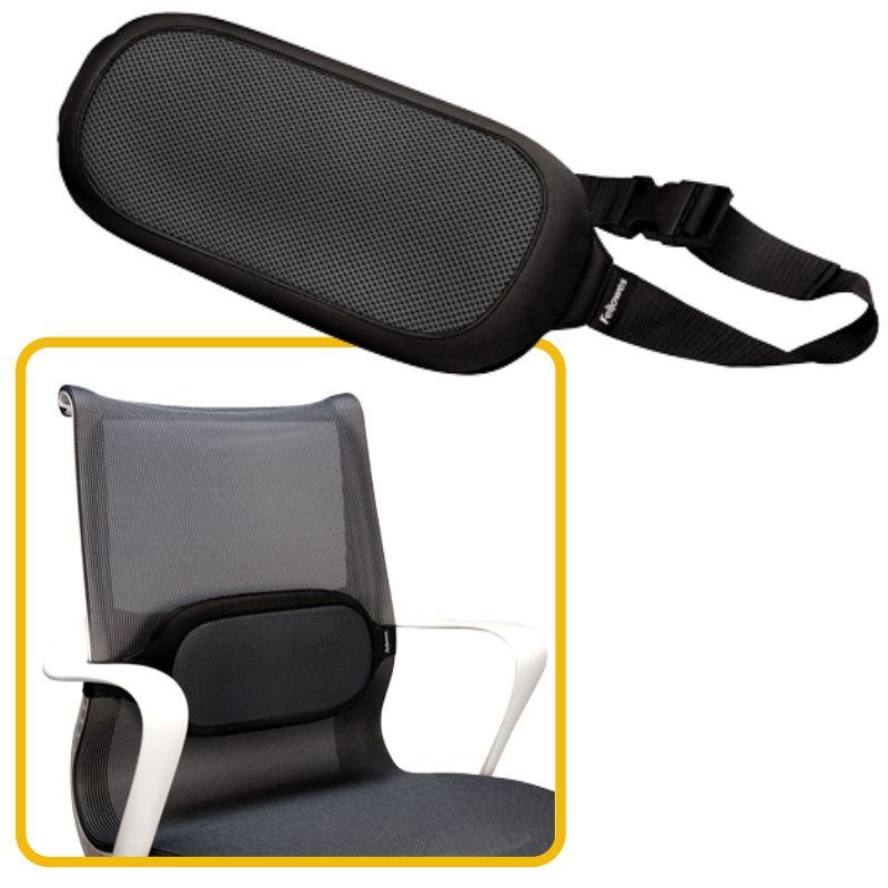 Cojin silla de oficina, lumbar, Fellowes I-Spire Negro, Selfpaper.com.
