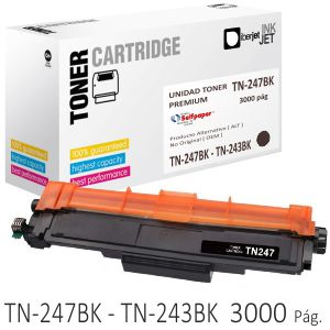 Compatible Brother TN247BK TN243 negro Toner Alta capacidad