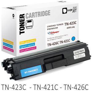 Compatible Brother TN423C TN421C TN426C color azul cyan