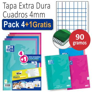 Cuadernos Oxford Tapa Extradura Pack.4+1 colores Tendencia