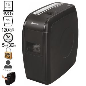 Destructora Fellowes 21cs particulas, 12 hojas P-3