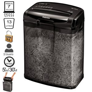 Destructora Fellowes M-7CM, 7 hojas - Papelera rejilla metal