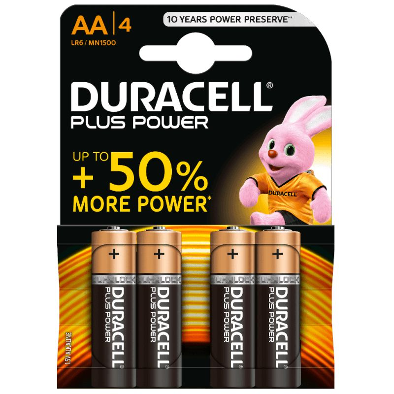 Duracell Plus Power 50%+ AA LR6 Pack 4 pilas alcalinas