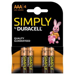 Duracell Simply AAA LR03 MN2400 Pack 4 pilas alcalinas