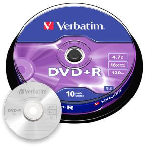 DVD+R Verbatim Bobina spindle 10 dvd 4,7 GB 16x AZO