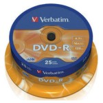 DVD-R verbatim bobina 25 16x 4.7gb Spindle AZO