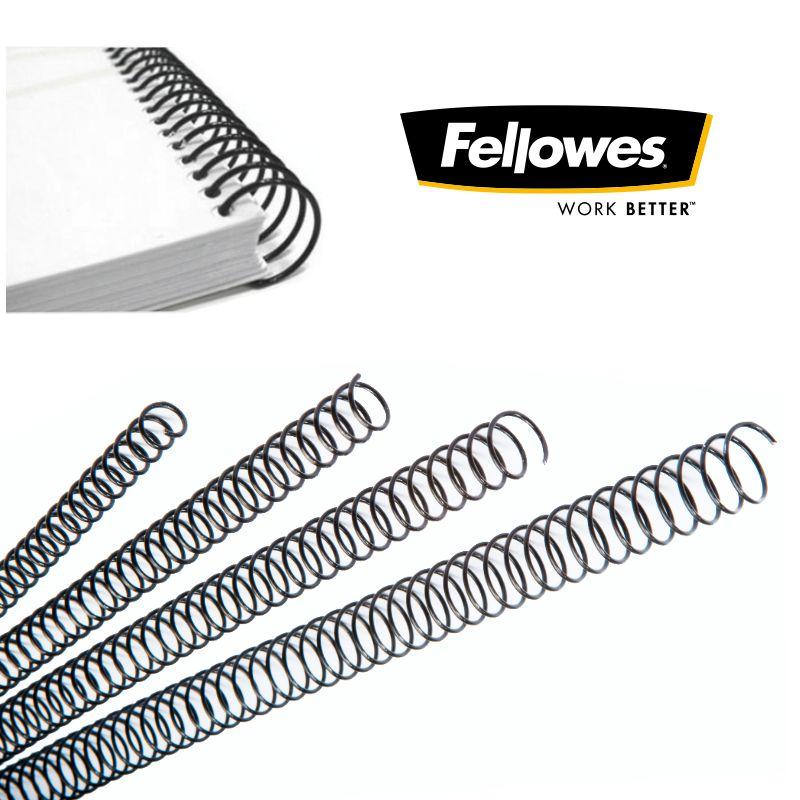 Fellowes ESP010-100 espirales met/álicas para encuadernar 59 agujeros color negro 10 mm paso 5:1