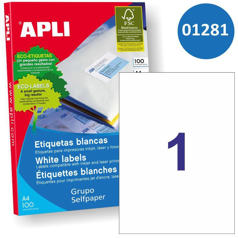 Etiquetas Apli Din A4 01281 Papel Adhesivo Impresora Selfpapercom