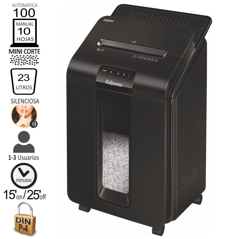 fellowes 100m automax, destructora automática mini