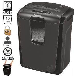 Destructora Fellowes M-8C, hasta 8 hojas en particulas