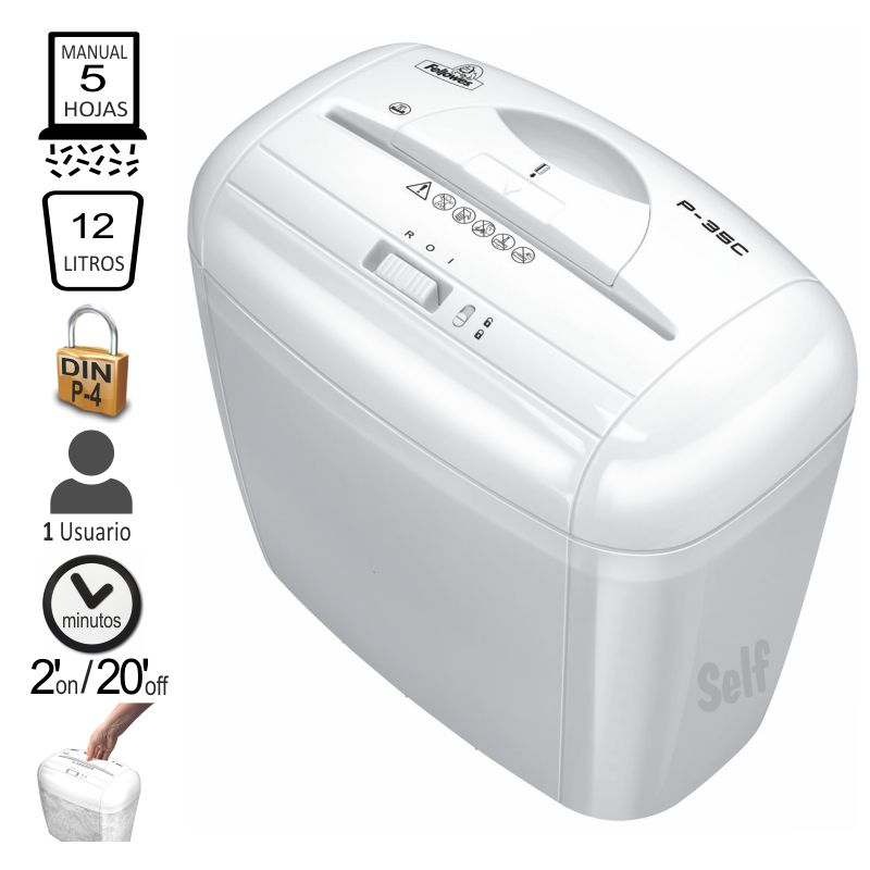 fellowes p 35 destructora papel blanca particulas