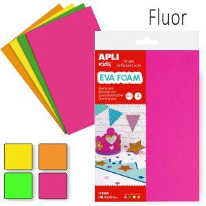 Goma Eva colores Fluorescente,