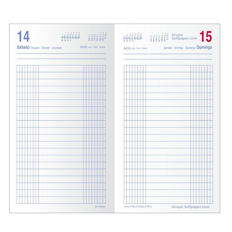 Dietario 2019, largo, dos tercios de folio, dia por pagina