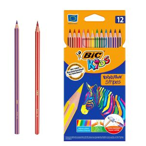 Lapices de colores Bic Kids Evolution Stripes Tropicolors 12