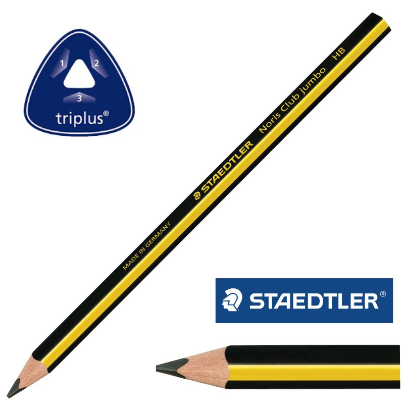 1 x Lápiz Noris Club Jumbo 119 HB Staedtler Lapicero Escritura Escolar Niños