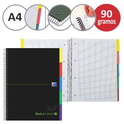 Libreta block con separadores Oxford Black & Colours 5