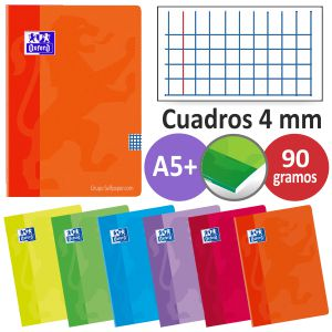 Libretas grapadas Oxford, cuadros 4 mm , Din A5 cuartilla