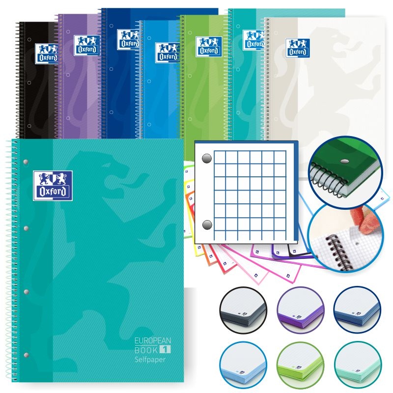 libretas oxford 4 taladros european colores