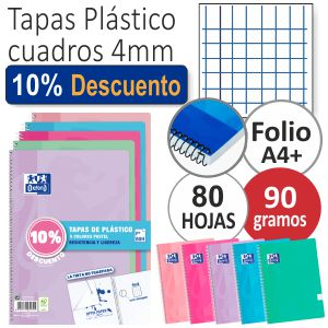 Libretas Oxford Tapas Plastico Colores Pastel, Pack 5 - 10%