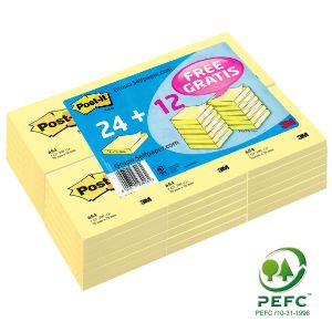 Notas Adhesivas Post-It 654, 76x76, Pack 24 +12 GRATIS