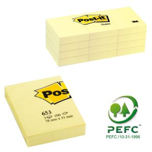 Notas adhesivas Post-it 653 38x51mm, pack de 3 tacos