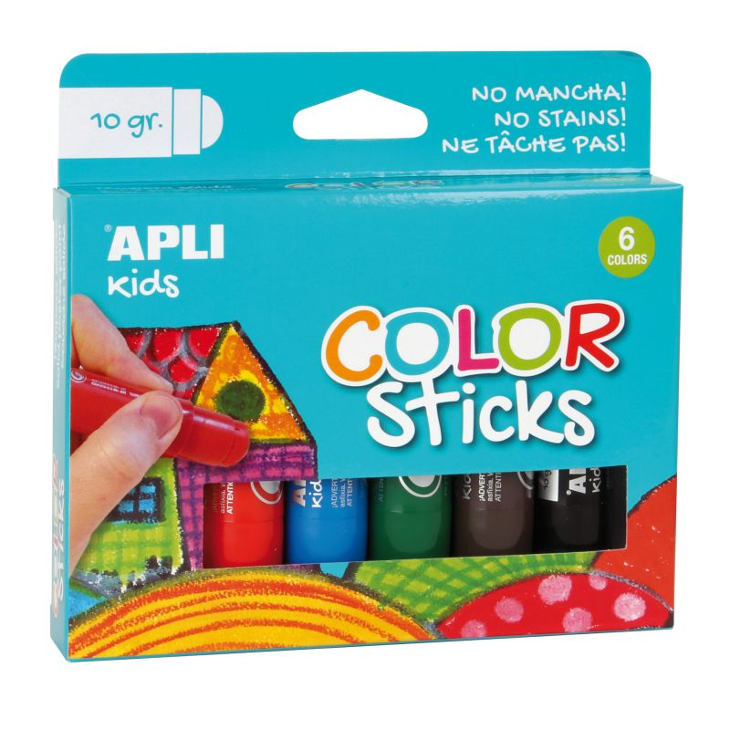 Comprar Pack 6 Colorsticks témpera solida Apli colores surtidos