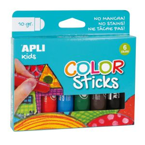 Pack 6 Colorsticks témpera solida Apli colores surtidos