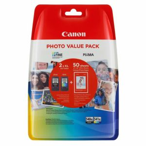 Pack Canon PG-540XL + CL-541XL + Papel Glossy, Negro + ColoR