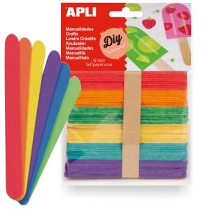 Palitos de polo de colores para manualidades, Pack 50 palos