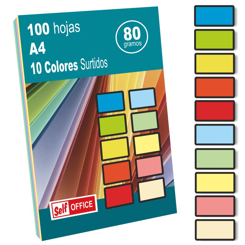 Papel de colores para imprimir 100 hojas 10 colores, Selfpaper.com.
