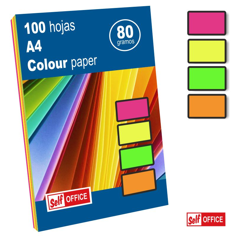 papel fluorescente neon din a4 colores