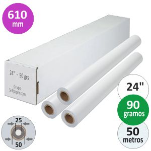Papel Plotter 90 gramos 610 x 50 mts. Navigator PLUS