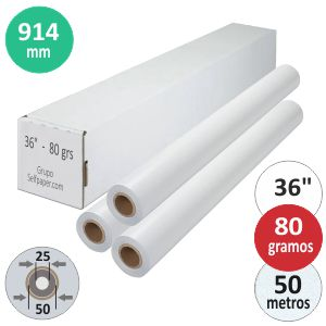 Papel plotter rollo 914 x 50 mts Navigator Plus 80 grs