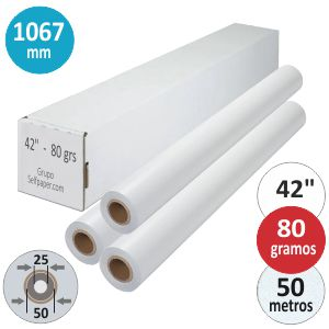 Papel Plotter rollo 1067 X 50 mts. PLUS 42