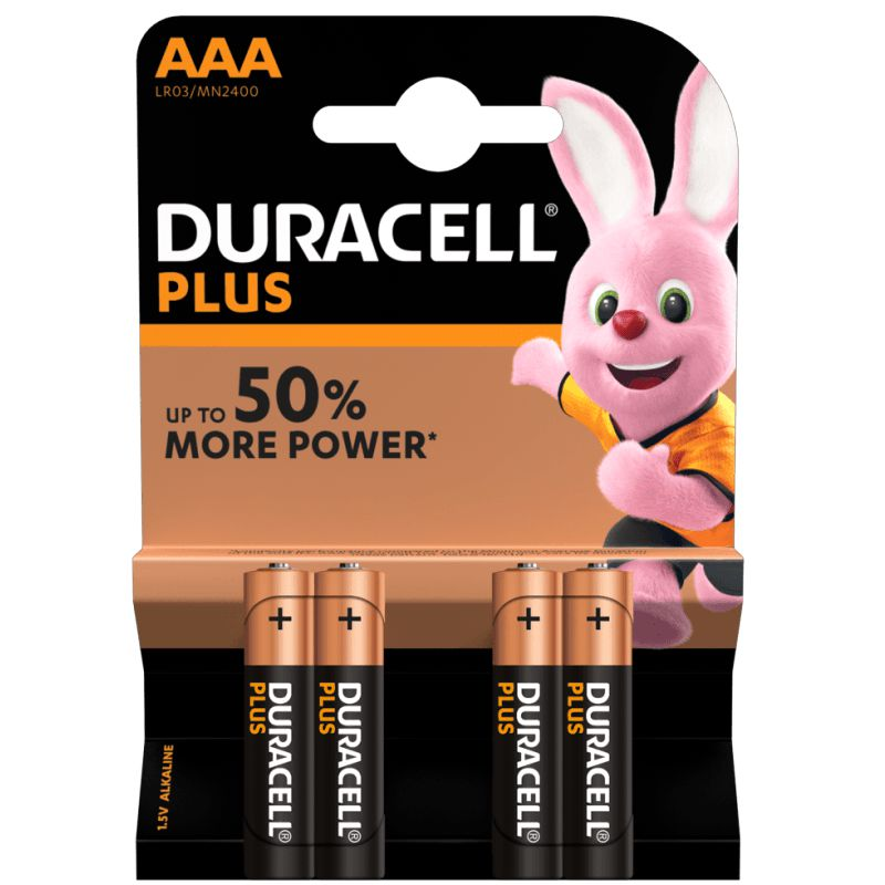 Comprar Pilas Duracell Plus Power 50%+ AAA LR03 Pack 4 uds.
